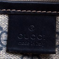 Gucci Navy Blue GG Supreme Canvas Vertical Web Loop Tote