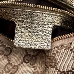 Gucci Beige/Bronze GG Canvas Large Bamboo Ring Hobo