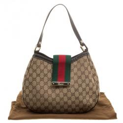 Gucci Beige GG Canvas New Ladies Web Hobo