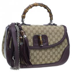 Gucci Burgundy Canvas and Leather Trim Borsa Bamboo Top Handle