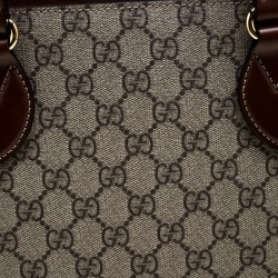 Gucci Beige/Brown GG Supreme Canvas and Leather Medium Tote