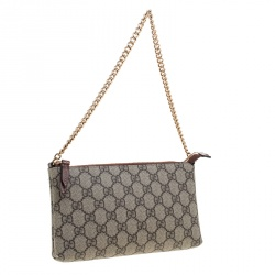 Gucci Beige GG Supreme Canvas Chain Wrist Wallet