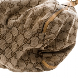 Gucci Beige GG Canvas Gold D Ring Hobo