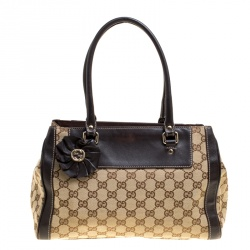 ee6880ee341f Gucci Beige Brown GG Canvas and Leather Small Trophy Tote