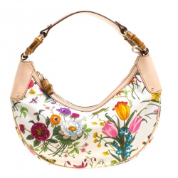 Gucci White Botanical Floral Canvas Bamboo Ring Hobo