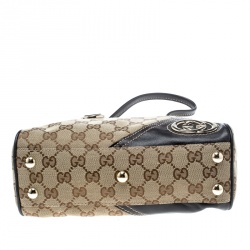 Gucci Beige/Ebony GG Canvas and Leather Satchel