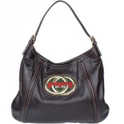 9694578bb3c Buy Gucci Brown Leather Medium Britt Hobo 40175 at best price