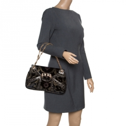a4bb9f20bcc07e Gucci Black Printed Velvet and Alligator Trim Limited Edition Tom Ford  Dragon Shoulder Bag