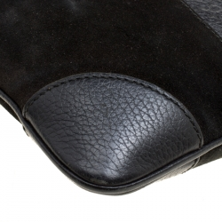 Gucci Black Suede and Guccissima Leather Messenger Bag