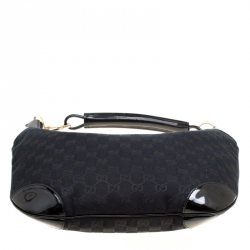 Gucci Black GG Canvas and Patent Leather Hobo