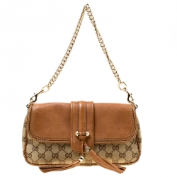 Gucci Biege Brown GG Canvas and Leather Marrakech Chain Shoulder Bag 62efcccba8