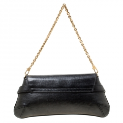 Gucci Black Textured Leather Horsebit Chain Clutch