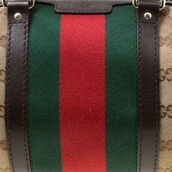 Gucci Dark Brown/Beige GG Canvas Small Web Boston Bag