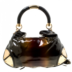 Gucci Metallic Brown Patent Leather Medium Indy Top Handle Hobo