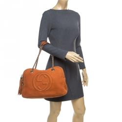 Gucci Orange Nubuck Leather Soho Disco Chain Shoulder Bag