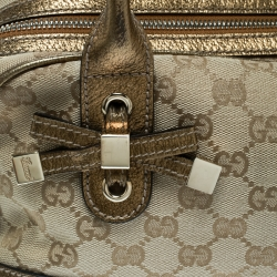 Gucci Beige/Gold GG Canvas and Leather Princy Boston Bag