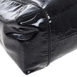 Gucci Black Patent GG Monogram Medium Hobo