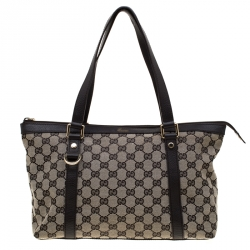 c981efcd6fc Gucci Beige Brown GG and Leather Canvas Medium Abbey Tote