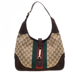 Gucci Brown GG Canvas and Nubuck Leather Jackie Web Hobo
