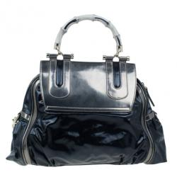 Gucci Black Leather Dialux Ivory Pop Bamboo Top Handle Bag