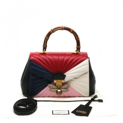 Gucci Multicolor Leather Queen Margaret Bamboo Top Handle Bag