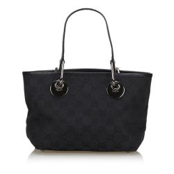 Gucci Black GG Canvas and Leather Eclipse Tote