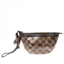 Gucci Beige GG Crystal Canvas Bamboo Tassel Wristlet Clutch