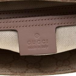 Gucci Beige Monogram Canvas and Leather GG Supreme Flat Messenger Bag