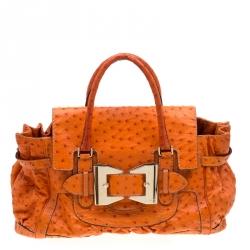 Gucci Orange Ostrich Large Queen Satchel