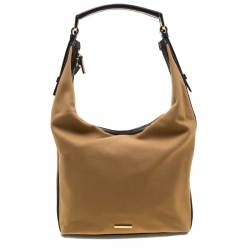 Gucci Light Yellow Fabric And Leather Web Stripe Hobo