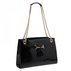 Gucci Black Patent Leather Large Emily Chain Shoulder Bag