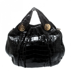 Gucci Black Crocodile Leather Hysteria Tote