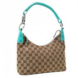 Gucci Beige/Green GG Canvas and Leather Classic Ring Hobo