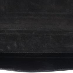 Gucci Black Patent Leather Buckle Clutch