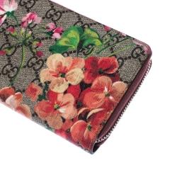 Gucci Beige GG Supreme Canvas Blooms Zip Around Wallet