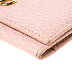 Gucci Pink Pebbled Leather GG Marmont Card Case