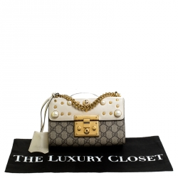 Gucci Beige/Off White GG Supreme Canvas and Leather Small Padlock Shoulder Bag