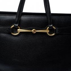 Gucci Black Leather Large Bright Bit Tote