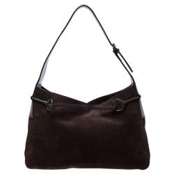 Gucci Dark Brown Suede and Leather Horsebit Shoulder Bag