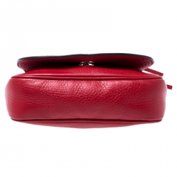 Gucci Red Leather Soho Flap Chain Crossbody Bag