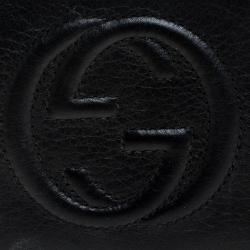 Gucci Black Leather Tassel Zip Around Wallet