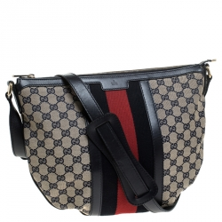 Gucci Blue GG Canvas and Leather Web Messenger Bag
