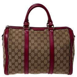 Gucci Beige/Pink GG Canvas and Leather Boston Bag