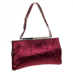 Gucci Burgundy Velvet Frame Shoulder Bag