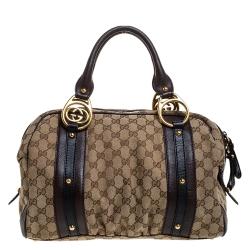 Gucci Beige/Brown GG Canvas and Leather Interlocking Boston Bag