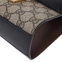 Gucci Beige/Black GG Supreme Canvas and Leather Small Padlock Shoulder Bag