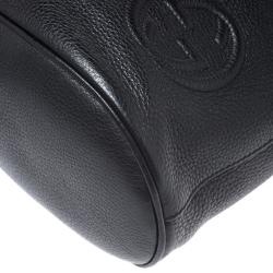 Gucci Black Leather Soho Drawstring Backpack