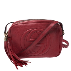 Gucci Red Leather Small Soho Disco Crossbody Bag
