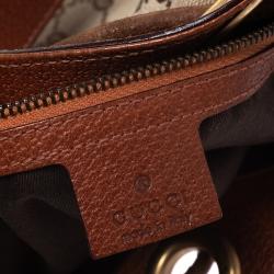 Gucci Beige/Orange GG Canvas and Leather Nailhead Drawstring Hobo
