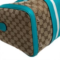 Gucci Beige/Blue GG Canvas and Leather Medium Vintage Web Boston Bag